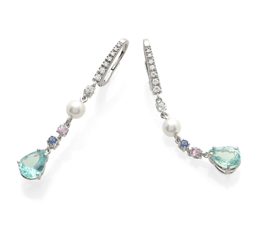 Signature earrings in 18K white gold with apatites, pearls, sapphires & diamonds