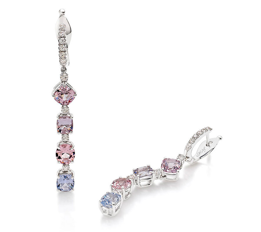 Signature earrings in 18K white gold with pastel spinels, sapphires & diamonds