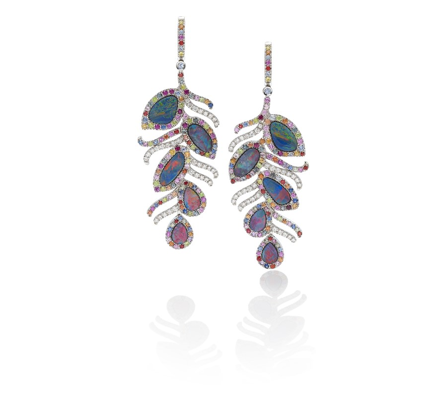 Earrings in 18K white gold with opals surrounded by multi-colored sapphires, demantoids & diamonds