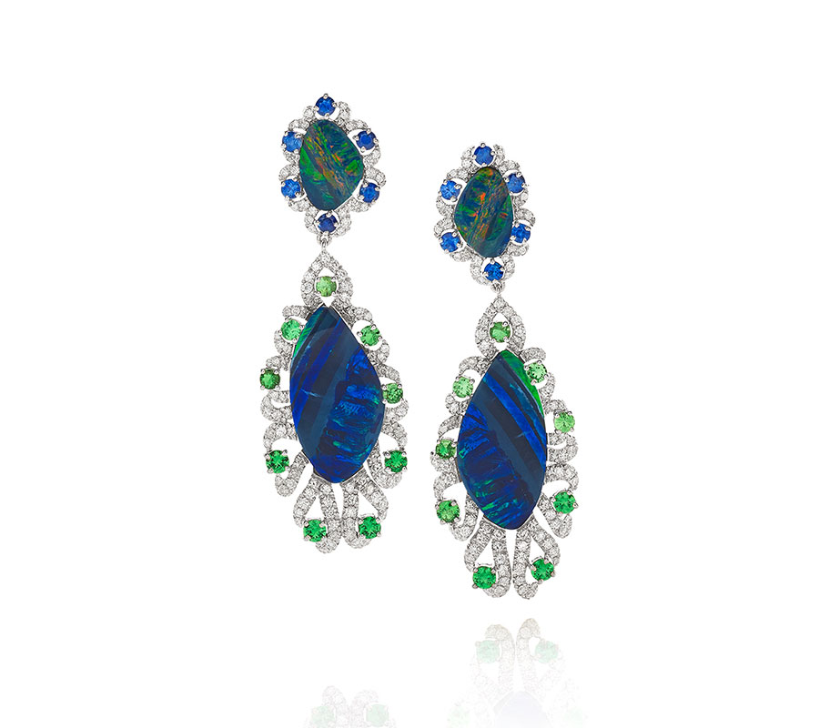 Opal earrings in 18K white gold with tzavorites, blue sapphires & diamonds
