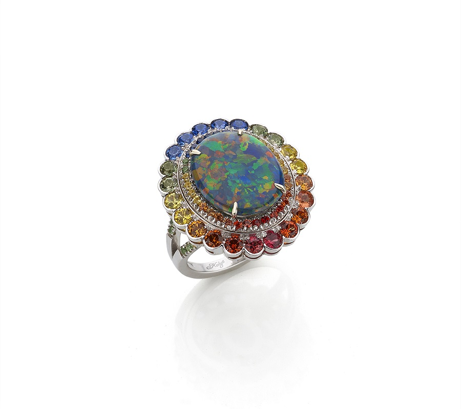 Ring in 18K white gold with black Opal surrounded by rainbow Sapphires