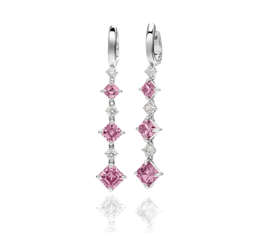 Earrings in 18K white gold with pink spinets & diamonds