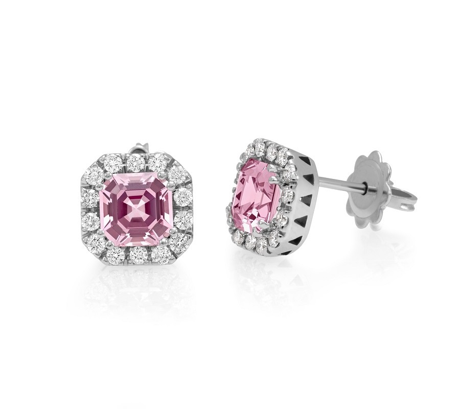 Stud earrings in 18K white gold with pink spinels & diamonds