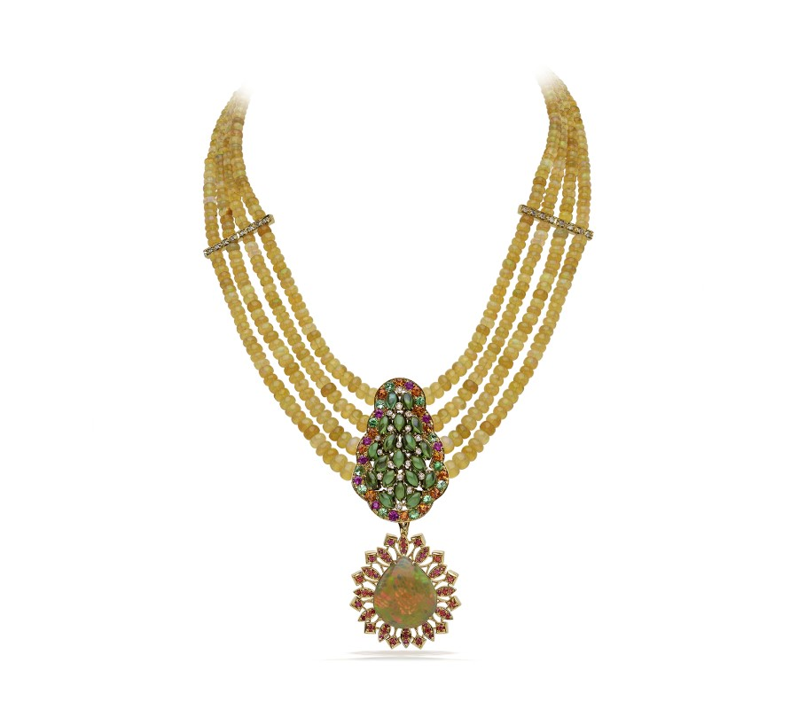 Necklace with detachable opal pendent set in 18K yellow gold and combines with orange & pink sapphires, tzavorites, cabochon tourmaline & diamonds.